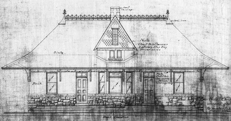 exterior blueprint of 1888 depot