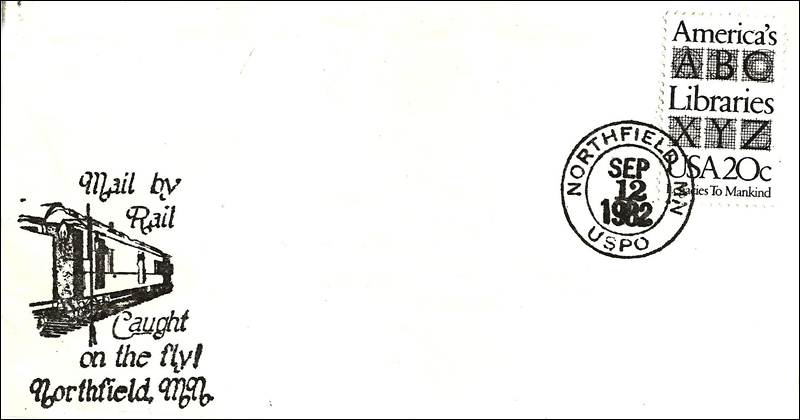 "letter postmark for ""mail by rail"" during 1982 Defeat of Jesse James Days"
