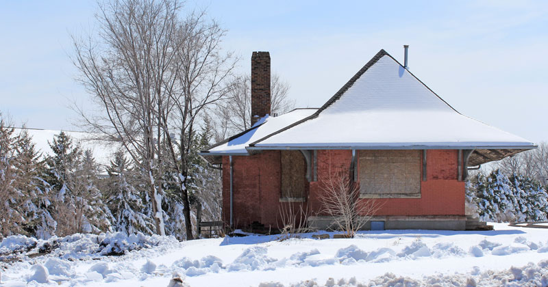 1888 depot in snow