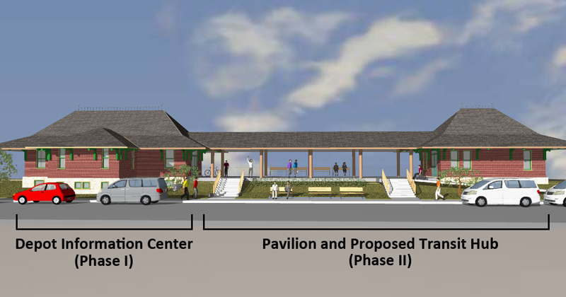 rendering of depot with pavilion and transit hub