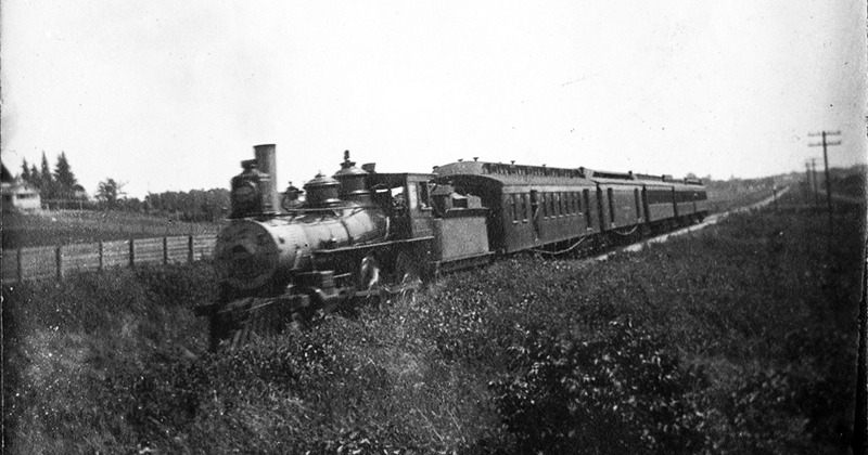 train traveling from Dundas to the 1888 depot